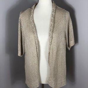 1X Charter Club Woman Short Sleeve Cardigan